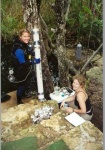 Marike and Sam Smith, hydrologist university of Bristol, working on watersamples