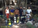 Expedition Yucatan 2000 with Mayan crew,Juan Carlos Lara and Roberto Chavez at a sacred cenote around Merida
